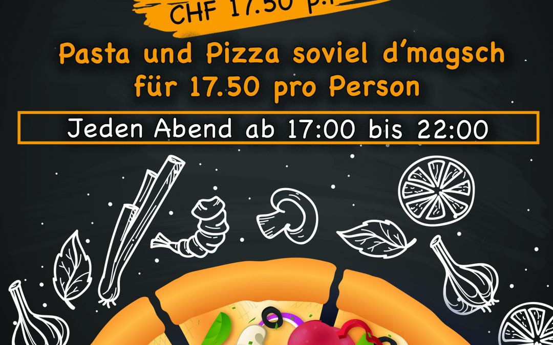 Pasta und Pizza soviel d'magsch fur 17,50 Fr pro Person